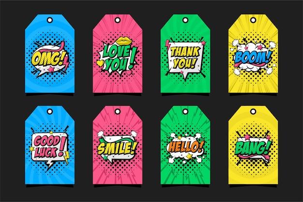 Comic-pop-art-etikettensammlung