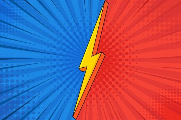 Comic pop art halbton punkte linie geschwindigkeit hintergrund.