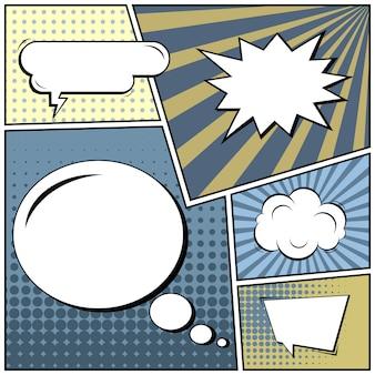 Comic-pop-art-stil mit sprechblasen