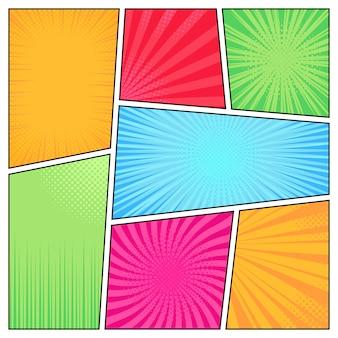 Comic-rahmen. cartoon spaß hellen superhelden comics stil rahmen, bücher cover, streifen textur elemente illustration set. popart-seite mit leerem raum und radialem halbtoneffekt