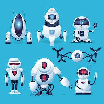 Comic-roboter, cyborg-figuren, spielzeug, bots, technologie der künstlichen intelligenz.