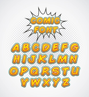 Comic-Schriftart Alphabet Pop-Art