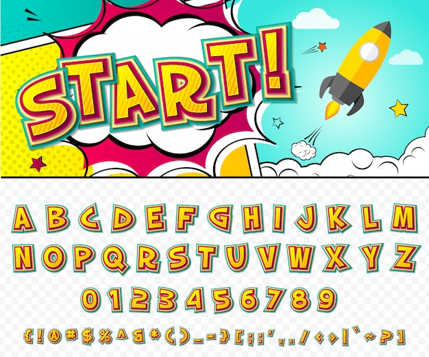 Comic-schriftart. cartoon alphabet im stil der pop-art.