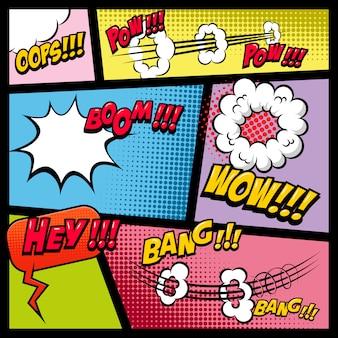 Comic-seitenmodell mit farbigem hintergrund. bombe, dynamit, explosionen. element für plakat, karte, druck, banner, flyer. bild