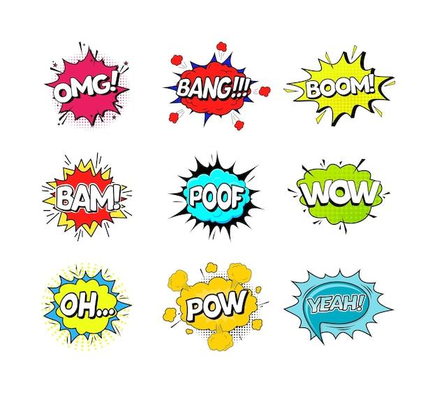 Comic speach bubble effekt set pop art.