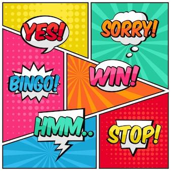 Comic specch sprudelt text pop art