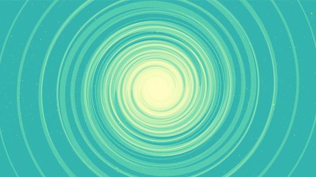Comic spiral schwarzes loch auf weichem blauem galaxienhintergrund.