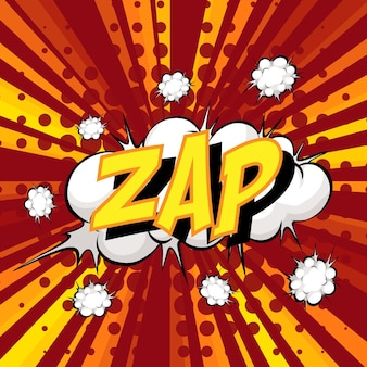 Comic-sprechblase der zap-formulierung beim platzen