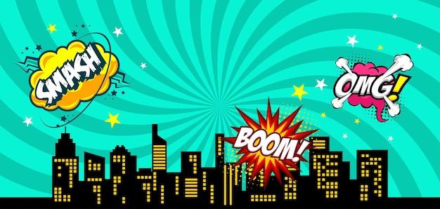 Comic-sprechblase hintergrund mit stadtsilhouette