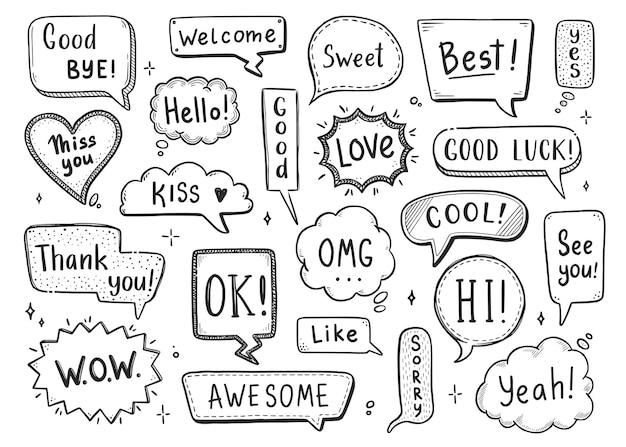 Comic-sprechblase mit dialogwort hallo, ok, tschüss, willkommen. handgezeichnete skizze doodle-stil. vektorillustrations-sprechblase-chat, nachrichtenelement.