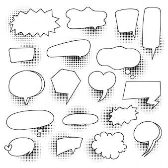 Comic-sprechblase mit halbton schatten gesetzt