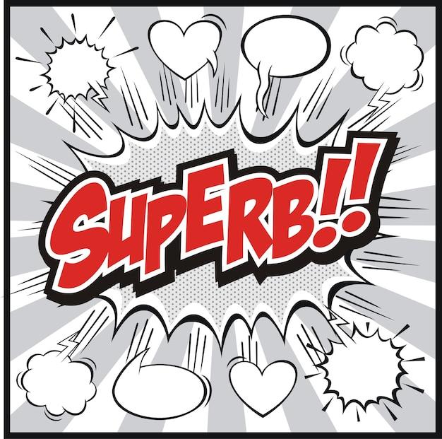 Comic-sprechblase mit superb !! worte symbole retro comics