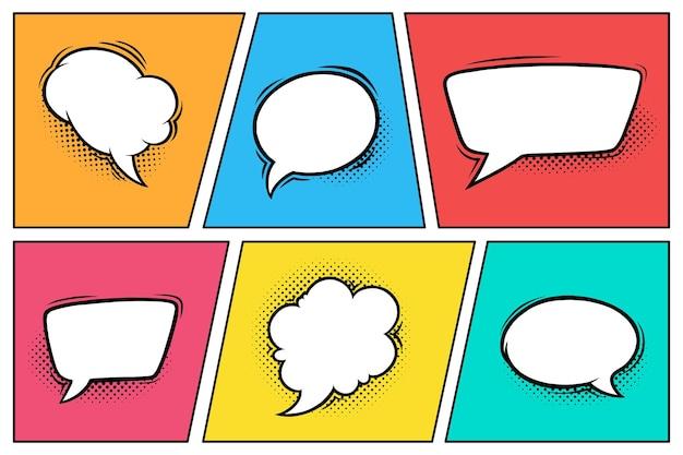 Comic-sprechblasen mit halbtonschatten satz von sprachboxen isoliert in buntem hintergrund