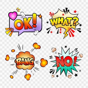 Comic-sprechblasen mit verschiedenen emotionen und text ok, what, no, bang.