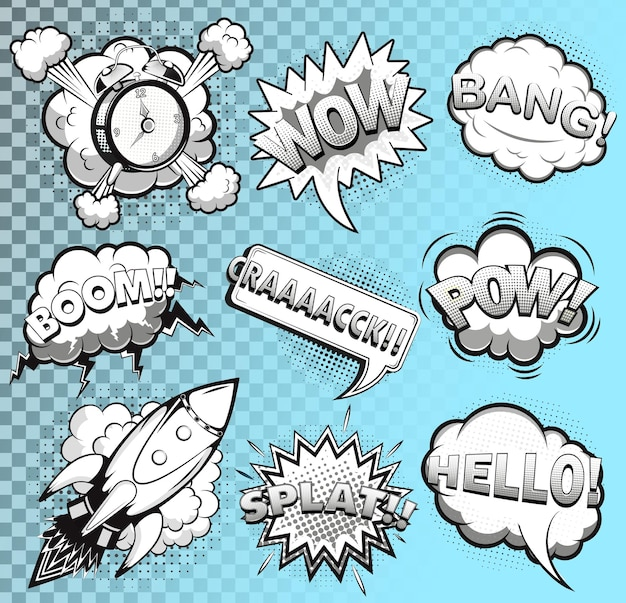 Comic-sprechblasen schwarz und weiß. rakete. wecker. soundeffekte. illustration
