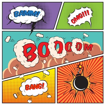 Comic sprechblasen und comic-hintergrund vektor-illustration