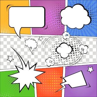 Comic-sprechblasen und comic-streifen auf buntem halbton-design