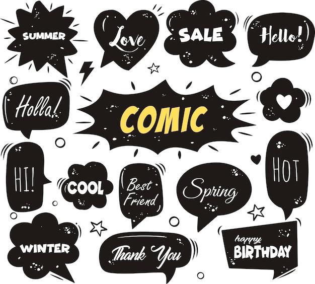 Comic sprechblasen und elemente