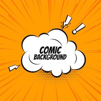 Comic-sprechblasenwolke auf orangefarbenem hintergrund