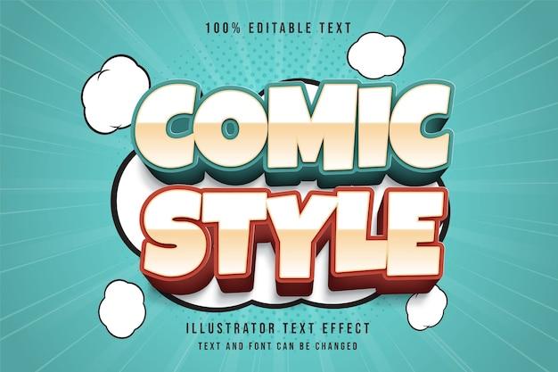 Comic-stil, 3d bearbeitbarer texteffekt creme gradation blau rot textstil