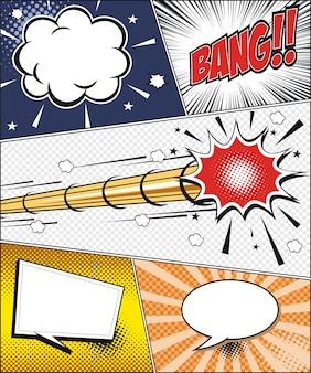 Comic-strip und elemente im pop-art-stil