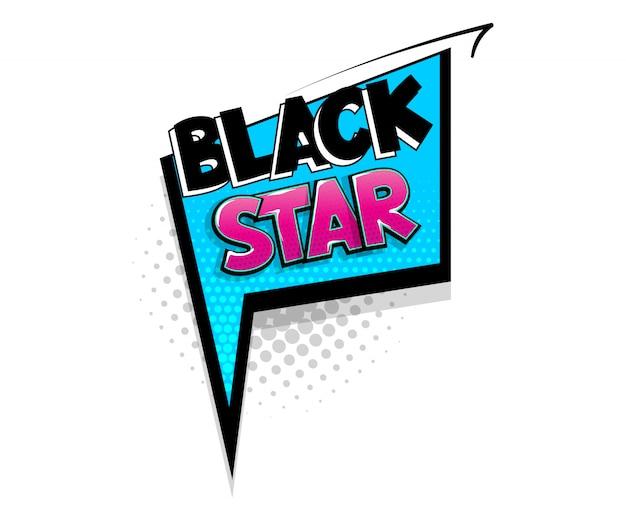 Comic-text schwarzer stern auf sprechblasen-cartoon-pop-art-stil