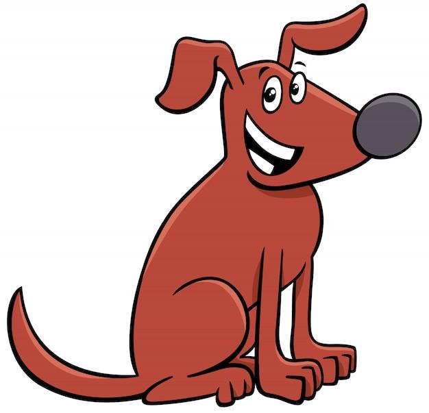 Comic-tiercharakter des braunen hundes der karikatur