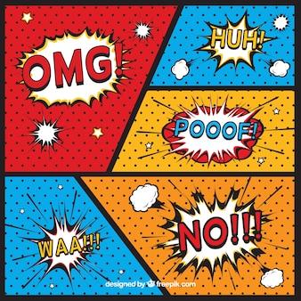 Comic-vignetten mit onomatopoeias