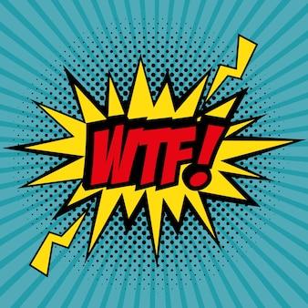 Comic wie wtf pop-art-zeichen über teal gestreiften hintergrund vektor-illustration