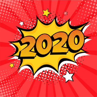 Comicbuch-artpostkarte des neuen jahres 2020 oder grußkartenelement