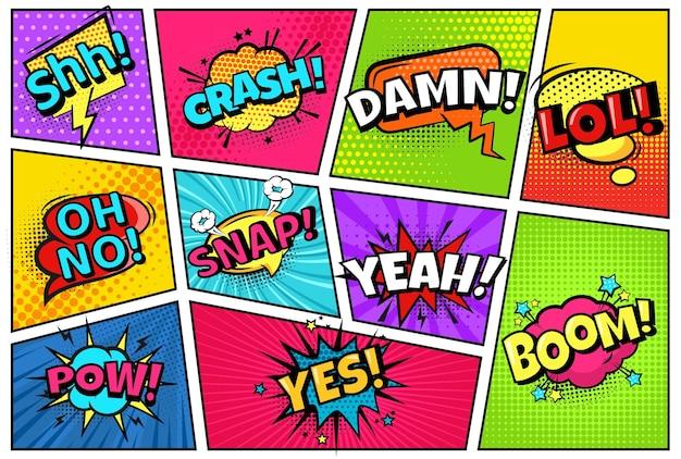 Comicbuchseite. heldenlayout mit rahmen, sprechblasen mit komischen wörtern. crach, pow, ja und schnapp