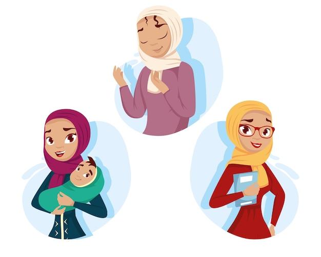 Comicfiguren aus der muslimischen kultur der frauen