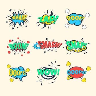 Comics ausrufezeichen, sprechblasen-set