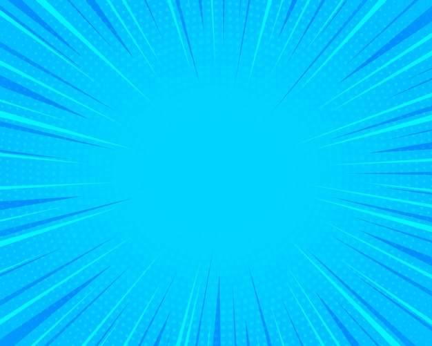Comics-hintergrund pop-art-retro-stil helle blaue strahlen hintergrund