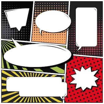 Comics oder vignetten im pop-art-stil mit leeren sprechblasen