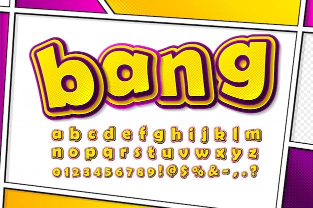 Comics schriftart. cartoonish alphabet auf comic-buchseite