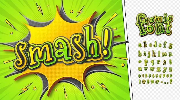 Comics schriftart. grün-gelbes cartoon-alphabet aus mehrschichtigen buchstaben und zahlen