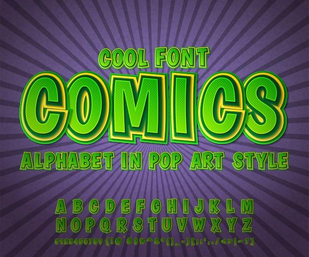 Comics schriftart, grünes alphabet