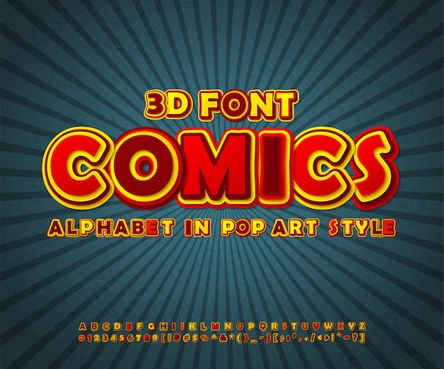 Comics-schriftart, pop-art-alphabet