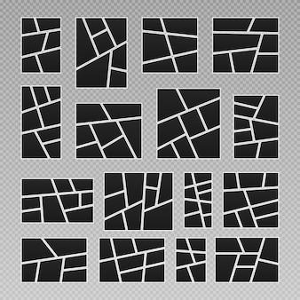 Comics seitenraster layout abstrakte bilderrahmen und digitales foto kreative vektor vorlage collage