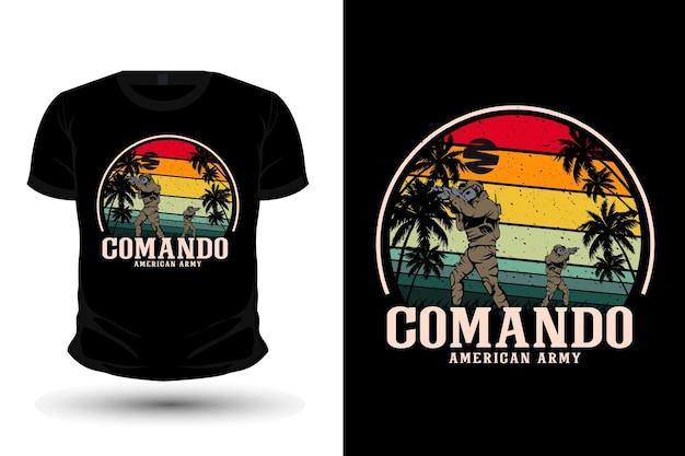 Commando american army merchandise illustration mockup t-shirt design