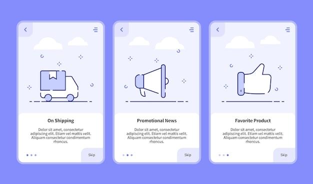 Commerce onboarding auf versand werbe-nachrichten lieblingsprodukt für mobile app banner-vorlage