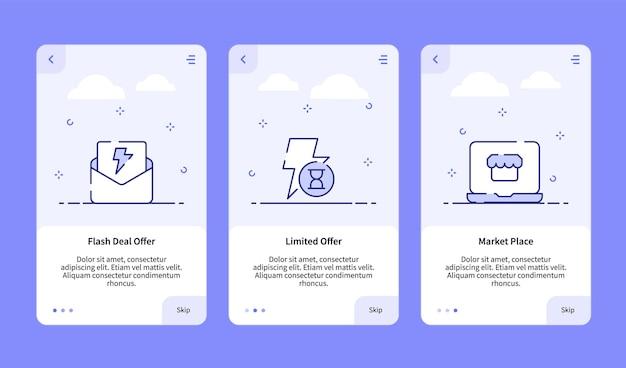 Commerce onboarding flash deal bieten begrenzten angebot marktplatz für mobile app banner-vorlage