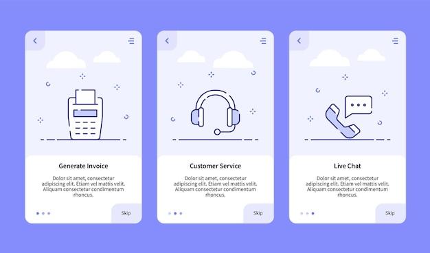 Commerce onboarding generiert einen live-chat für den kundenservice der rechnung für die banner-vorlage für mobile apps