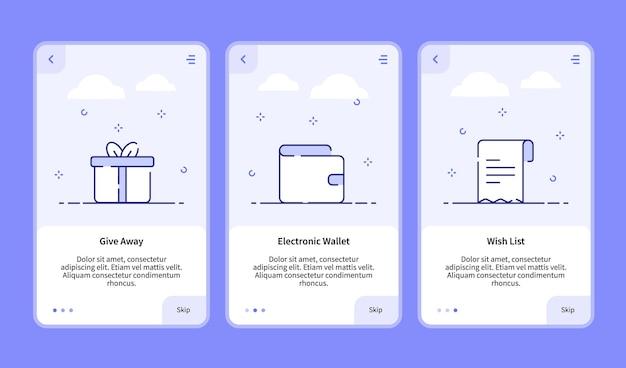 Commerce onboarding verschenkt die wunschliste für elektronische geldbörsen für die banner-vorlage für mobile apps