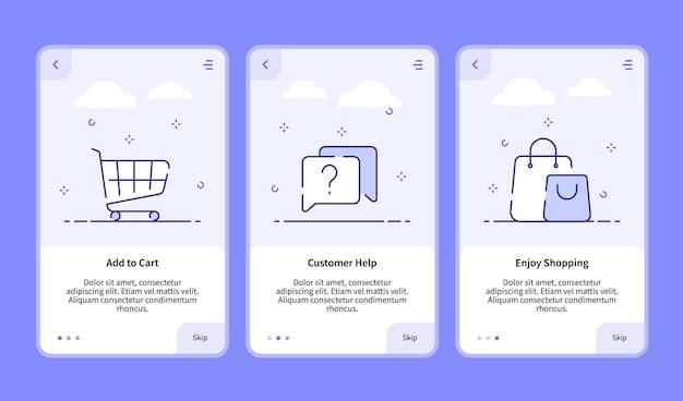 Commerce onboarding zum chart hinzufügen kundenhilfe beim einkaufen für die banner-vorlage für mobile apps