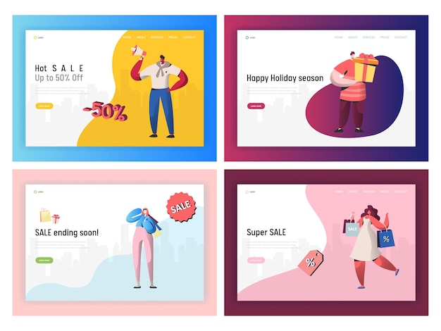 Commerce sale angebot promotion landing page set.