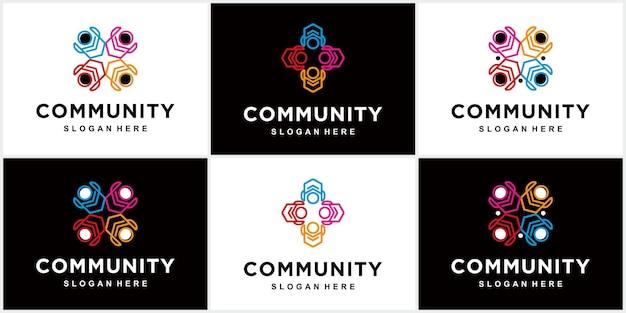 Community-logo mit farbigen menschen in kreisform teamwork-logo community-logo