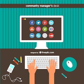 Community-manager schreibtisch