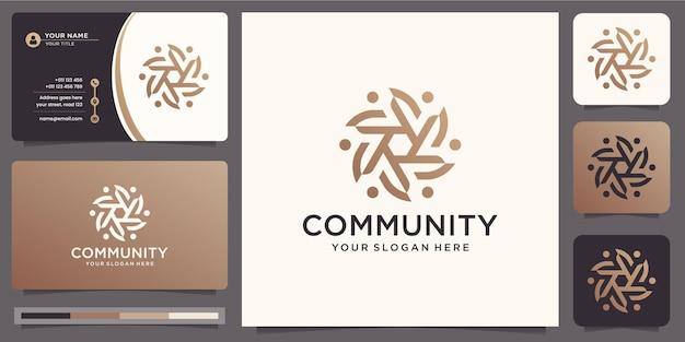 Community team work logo design vorlage und visitenkarte.